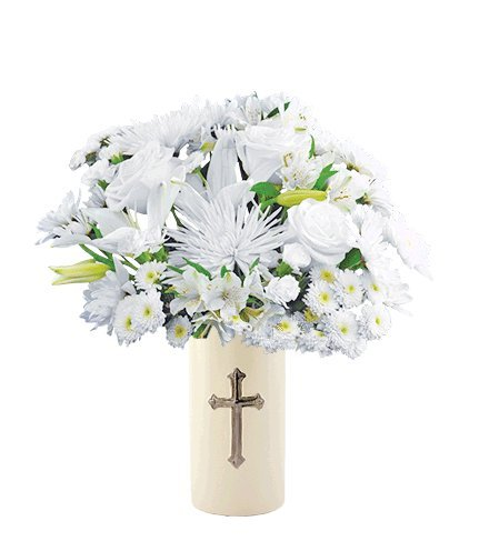 Eternal Blessings Bouquet with Cross Vase by Flowers Sent Today