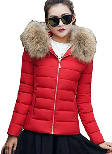Women's Faux Thicken security Collar Puffer Quilted Jacket Short 2 Down Zipper Warm Fur wAdqq5T