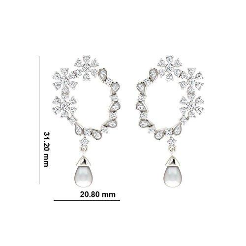 Libertini Boucle d'oreille argent 925 serti de Diamant et Perle