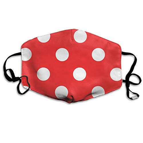 Red and White Polka Dot Pattren Face Mouth Mask Unisex Polyester Comfy Anti Dust Masks ()