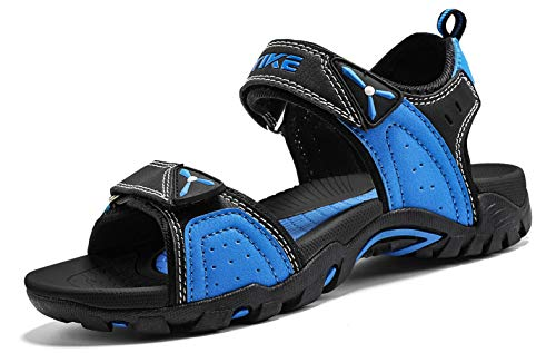 (Littleplum Summer Outdoor Beach Sports Open Toe Sandals Athletic Sandal Sport(Toddler/Little Kid/Big Kid) Black/Blue)