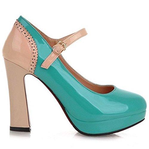 Melady Tacon Mujer Tacones de Alto Zapatos Ancho Green rnUrvwxqaC