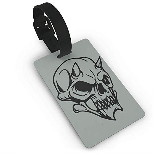 BeautyToiletLidCoverABC Halloween Skull Pattern PVC Travel Luggage Tag Holder Name ID Labels Set for Travel for Women Kids Men Set Cute Cruise Bulk red Fun cat durab PVC Size 2.2'' X 3.7'']()