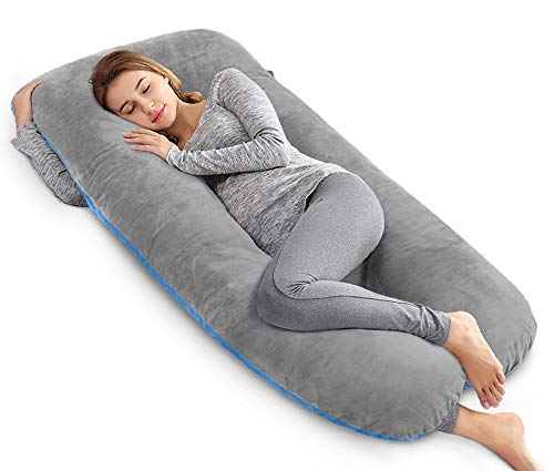 Ang Qi Total Body/Maternity Pregnancy Pillow - U Shape - with Double Zipper Cotton Pillowcase