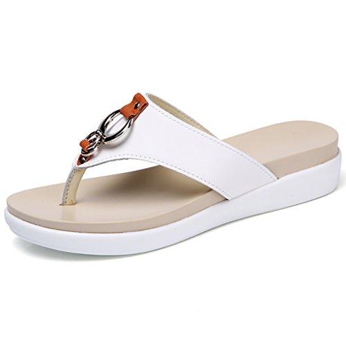 PENGFEI Chanclas de playa para mujer Flip flops Zapatillas de verano Playa playa Ocio femenino Antideslizante gruesa inferior sandalias blanco y negro Cómodo y transpirable ( Color : Negro , Tamaño :  Blanco