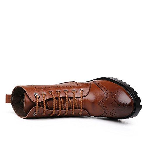 WZG Les nouvelles bottes Martin Bullock sculpté en cuir haut-dessus des chaussures en Europe et en Amérique bottes de marée souligné bottes , brown , 42