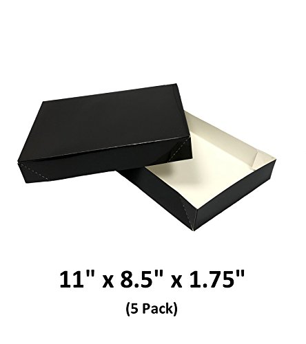 Rectangle Gift Box (Black Apparel Decorative Gift Boxes With Lids For Clothing and Gifts 11x8.5x1.75 (5 Pack) | MagicWater Supply)