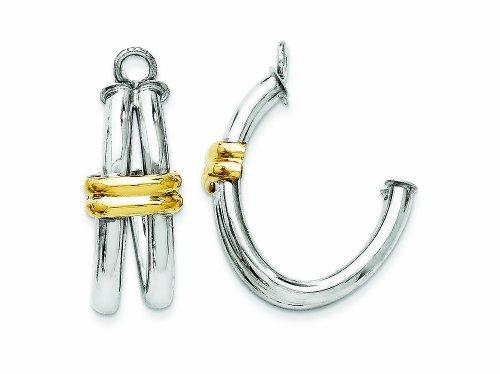 14k Two-tone J Hoop Earring Jackets by Finejewelers