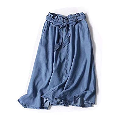 MAZORT Women Elastic Waist Bow Knot Belt A-Line Flared Denim Midi Skirt