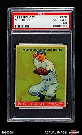 Amazoncom 1933 Goudey 158 Moe Berg Washington Senators Baseball