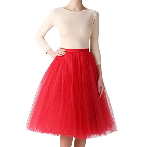 WDPL Women's A-line Short Bridal Tulle Prom Party Skirt (X-Large, Red) ()