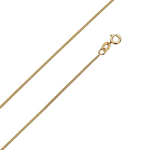14K Yellow, Rose or White Gold Chain 0.9mm Baby Link Curb Chain Necklace (16, 18, 20, 22, 24 Inches), ()