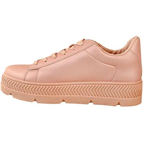 Scarpe Da Ginnastica Sneakers Flatform Wise Fashion Donna Assetate Di Moda Creepers Size Rosa Ecopelle