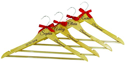 Bridal Name Engraved Wooden Hangers Personalized Wedding Hanger Bridesmaid Gifts