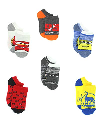 Disney Cars 3 Boys Toddler 6 pack No Show Socks (6-8 Boys (Shoe: 10.5-4), Grey/Multi No Show)