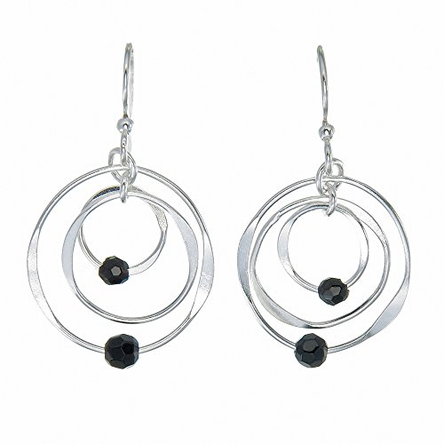 Oh Scarlett jewelry Sterling Silver Orbiting Triple Rounds Highly Polished with Facet Cut Onyx Beads