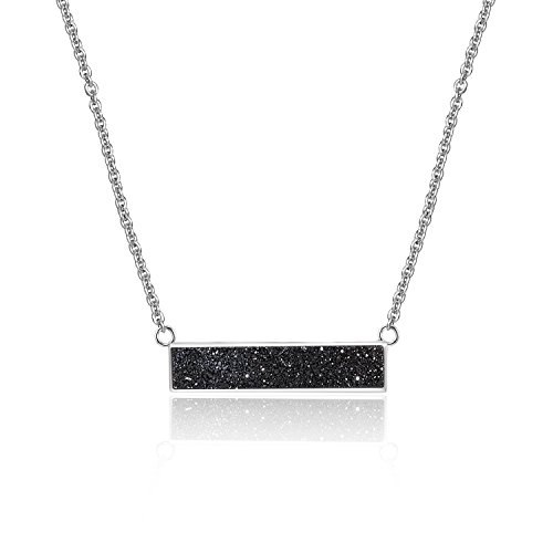 Drusy Quartz Necklace (Black Drusy Quartz Balance Pendant Necklace with White Gold-Plated over Brass, 16