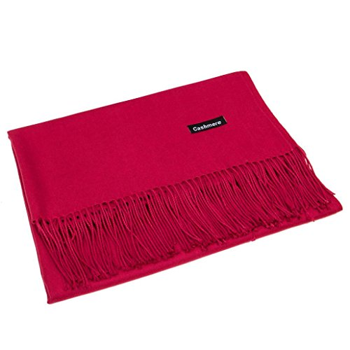 Women Warm Cashmere Blend Pashmina Solid Tassel Shawl Wrap Scarves Winter Gallity 70m x 180cm (Wine - Red Siren Wine