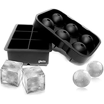 glacio Ice Cube Trays Silicone Combo (Set of 2), Sphere Ice Ball Maker with Lid & Large Square Molds, Reusable and BPA Free