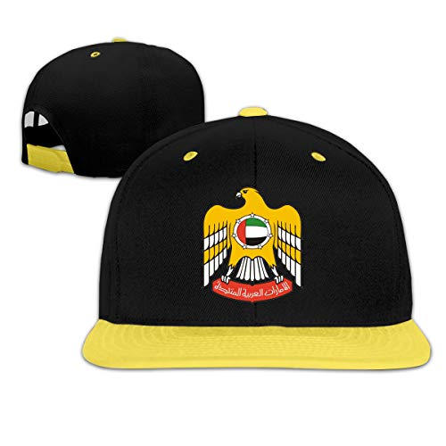 United Arab Emirates Golf - Kids Coat of Arms of United Arab Emirates Outdoor Hip Hop Golf Cotton Snapback Hat Adjustable Yellow