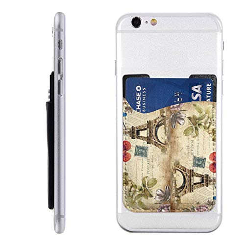 - Eiffel Tower Postcard Phone Card Holder Silicone 3M Adhesive Stick-on ID Credit Card Wallet Ultra Slim Phone Pocket
