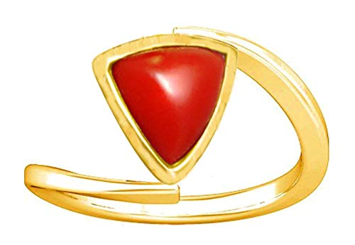 - Divya Shakti 5.25-5.50 Carats Triangular Red Coral Ring (Moonga/Munga Stone Panchadhatu Ring) 100% Original Natural AAA Quality Gemstone for Women (4)