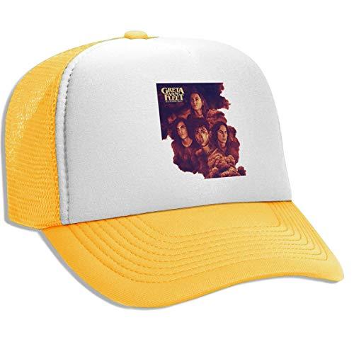 Unisex Greta Van Fleet Black Smoke Rising Cap, Breathable Mesh Trucker Hats Outdoor Sun Hats Beanies Yellow
