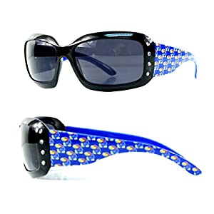 Kansas University Jayhawks KU Women's Bling Black UV Sunglasses with Jayhawk Temples & Swarovski Crystals