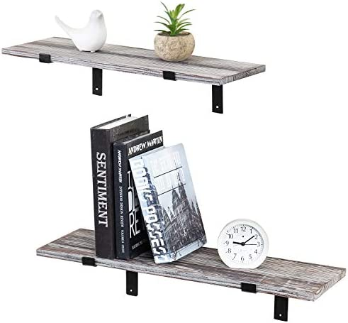 MyGift Torched Wood Wall-Mounted 24-Inch Floating Shelves with Black Metal Brackets, Set of 2