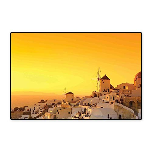 Greece Door Mat Small Rug Sunset Oia Village on Santorini Island Mediterranean Summer Vacation Bath Mat for Bathroom Mat 16