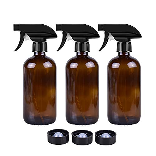 - Empty Amber Glass Spray Bottles (3 Pack) - 16oz Refillable Container for Essential Oils, Cleaning Products, or Aromatherapy - Durable Black Trigger Sprayer w/Mist and Stream Settings (Spray Bottles)