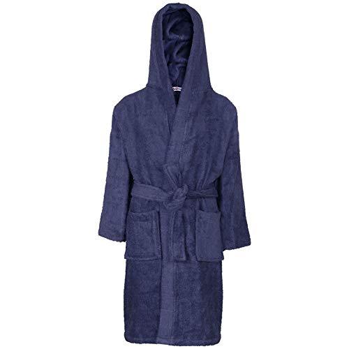 Kids Girls Boys 100% Cotton Soft Terry Hooded - Towel Bathrobe Navy 9-10