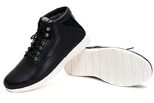 OZZEG mode hommes chaussures hiver chaud doublure bottes en peau de mouton laine cuir (42, noir)