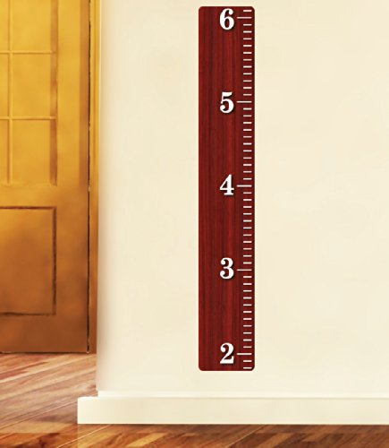 Cherry Wooden Ruler Growth Chart, Wood Ruler Height Chart Wall Decal, Wall - Chart Adhesive Height
