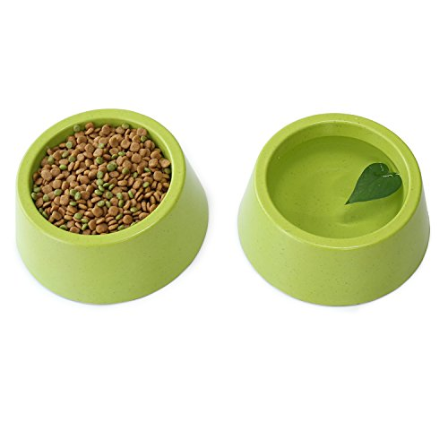 Vivaglory Set of 2 Dog Bowl Cat Feeding Station Pet Bowl, Natural Bamboo Fiber Healthy Feeder with Non Slip Slicone Bottom, Small, Green by Vivaglory