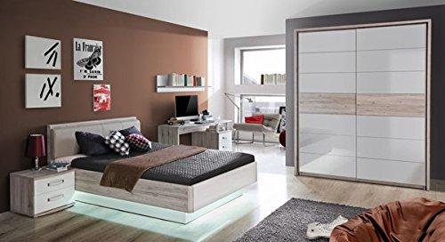 jugendzimmer komplett 62280 sandeiche wei hochglanz 4 teilig g nstig bestellen. Black Bedroom Furniture Sets. Home Design Ideas