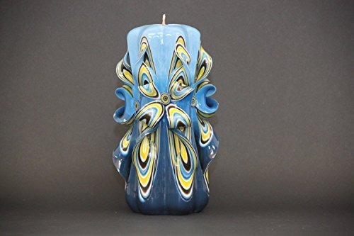 Royal Blue and Yellow Carved Candle - Handmade Interior Space Unique Decoration - (Royal Blue And Yellow Centerpieces)