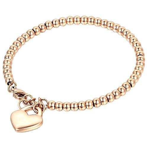 Steel Gold Tone Beads Heart Charm Pendant Bracelet for Womens Girls,7 Inch ()