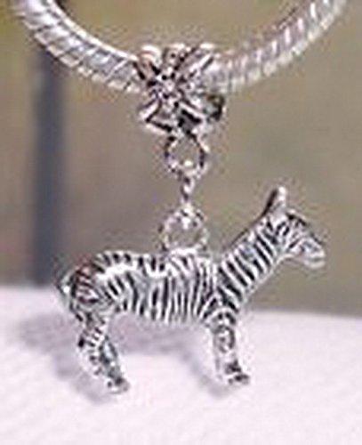 (Glamorise Beads #13622 Zebra Zoo Safari Wild Animal Dangle Bead for Silver European Charm)