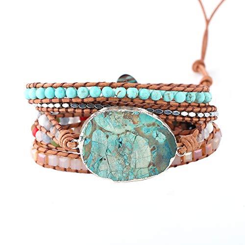 IUNIQUEEN Boho Handmde Ocean Jasper Druzy Wrap Bead Bracelet Jewelry Collection (Silver &Turquoise)