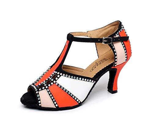 Mujer Baile 5cm moderno Cristales Chispa uk7 De Altos Satin Samba Zapatos Tacones Latin Orangeheeled7 té Sandalias Eu41 Jazz Salsa Blancoheeled10cm Tango Willsego Our42 qE8fBw7q