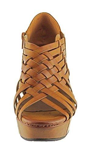 New Womens Platform (Pierre Dumas Women's Natural-1 Vegan Leather Criss Cross Strappy Wedge Platform Sandals,New Tan,6.5)
