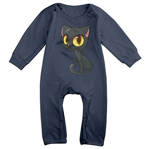 [Haru Shy Cute Cat NewBorn Boy's & Girl's Long Sleeve Bodysuit Outfits Navy 6 M] (Dead Football Player Costume)