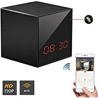WiFi Black Box LED Clock Camera,CAMXSW WiFi HD nanny cam Clock Camera Mini Baby Home Security Cameras Wireless Network Night Vision,Surveillance Webcam System For IOS/Android