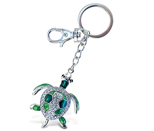 Puzzled Green Sea Turtle Sparkling Charm Elegant Keychain