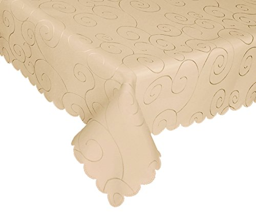 EcoSol Designs Microfiber Damask Tablecloth, Wrinkle-Free & Stain Resistant (60x102, Beige) Swirls