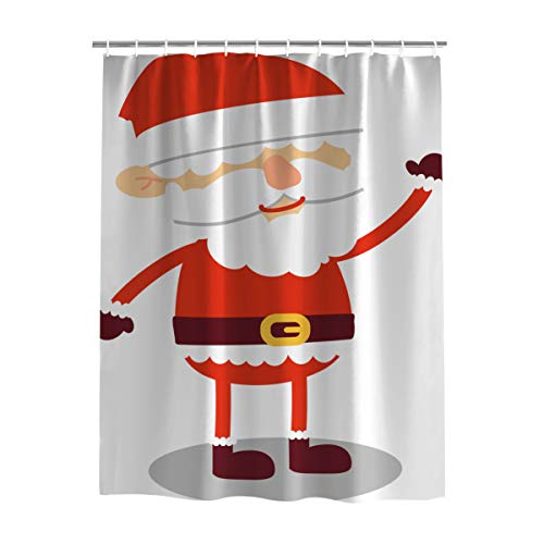 Soft Polyester Fabric Christmas Shower Curtain Bathroom Decor/Cartoon Red Blindfolded Santa Claus/Simple Design Showers & Bathtubs,Waterproof/Mildew Resistant/Anti-Bacterial 72