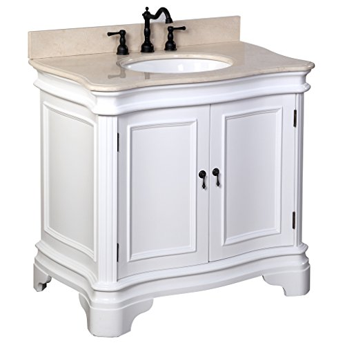Kitchen Bath Collection KBC-A36WTMFL Katherine Bathroom Vanity with Marble Countertop, Cabinet with Soft Close Function and Undermount Ceramic Sink, Crema Marfil/White, 36