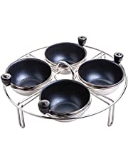Eggssentials Stainless Steel Egg Poacher Pan Insert | 4 Poached Egg Cups PFOA Free Nonstick | 7.25 inch Rack Compatible with Skillet Instant Pot Pressure Cooker | Hard Boiled and Poached Egg Maker …