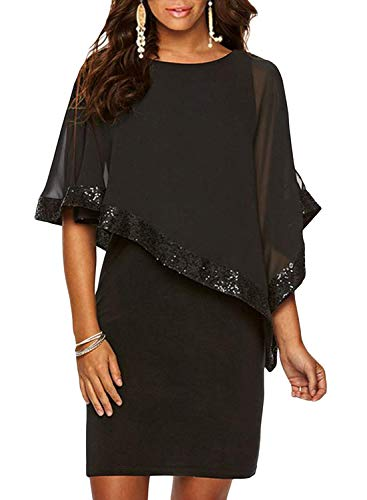 Sidefeel Women Sequin Mesh Overlay Pencil Mini Poncho Dress Small Black
